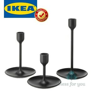 IKEA FULLTALIG Candlestick Set of 3 Black
