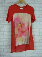 FRANK & MOLLY Tunic top Sz 10 Red, pink floral print