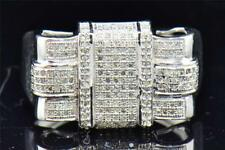 Mens 10K White Gold Round Cut Pave Diamond Fashion Designer Pinky Ring 0.60 Ct.