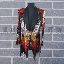 Mens One Botton Blazer Suit Coat Sequin Glitter Dress Clubwear Jacket Singer Hot