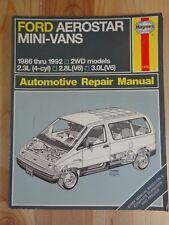 Haynes Automotive Repair Manual 1476 FORD AEROSTAR MINI VANS 1986 thru 1992