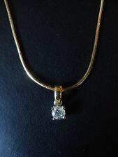 18 CARAT YELLOW GOLD DIAMOND SINGLE STONE PENDANT ON A SNAKE CHAIN BRAND NEW