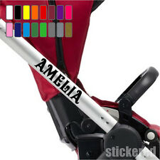 2 x PERSONALISED NAME STICKERS FOR BABY PRAM PUSHCHAIR STROLLER BUGGY