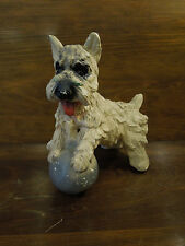 Vintage Scottie Dog On Ball Plaster Figure