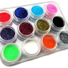 12 PCS MIX COLOR GLITTER DUST POWDER NAIL ART SALON ACRYLIC UV GEL TIPS TOOL SET