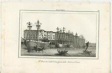 ANTIQUE DOCK OF THE EAST INDIA COMPANY LONDON SHIP ENGLAND ITALIAN TITLE PRINT