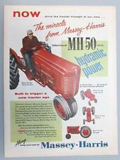 Orig 1956 Massey Harris Tractor  Ad MH50 With Hydramic Power Row Crop Twin Front