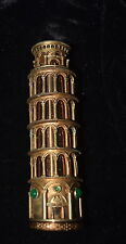 TI-012 - Merle Norman Gold Silver Leaning Tower Pisa Lipstick Holder 1961 RARE