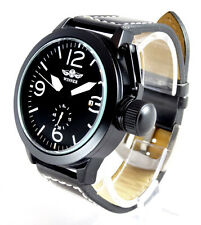 Large Pilot's Black 46mm Aviator Canteen Automatic Steel Boat Watch Sub Military