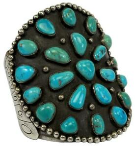 Signed MB Navajo Native American Sterling Silver Turquoise Chunky Cuff Bracelet