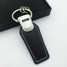 Fashion Leather Key Chain zinc alloy Car logo keyChain Key Ring For AUDI