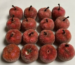 Apples Fake Fruit Red Styrofoam Artificial Plastic Prop Sparkle Holiday 16 Total