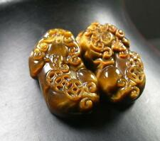 CHINESE Tiger Eye JADE PENDANT Feng Shiu Pair Dragon Pi Xiu Money Coin 279553 US
