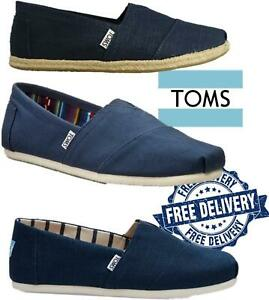 Toms Espadrilles Mens Classic Rope Slip on Trainers Plimsoll Wedges Navy