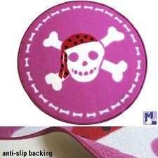 Kinderteppich Pirat Totenkopf Teppich pink, rutschfest Ø 80 cm