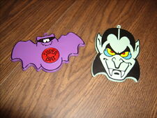 Vintage HALLMARK Painted Dracula Vampire  & Bat Plastic Cookie Cutters Halloween
