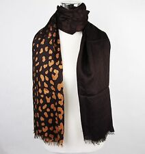New Gucci Brown GG Guccissima Leopard Modal Scarf 325338 2165