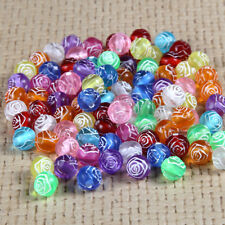 100x Candy Color Rose Flower Pattern Acrylic Loose Beads Fit DIY Bracelet 8MM