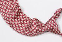 Hermes Paris 7415 HA Red Chain Locks Silk Necktie Tie