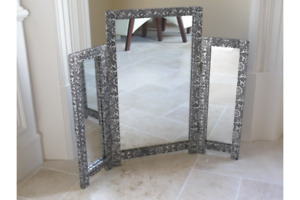 Embossed Dressing Table Mirror Triple Mirror Blackend Silver Moroccan Style