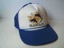 Vintage Hawaii Dolphin Hat Blue White Snapback Trucker Cap