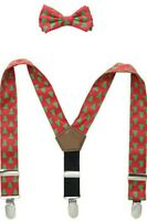 Mud Pie Baby Boy Toddler Christmas Tree Suspenders Red Green Bow Tie Set Holiday