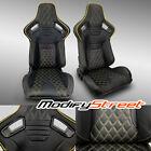 2 X Black Pvc Leatheryellow Stitch Leftright Racing Bucket Seats