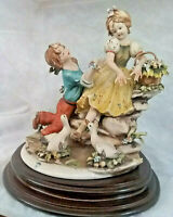 Capodimonte Porcelain Figurine Signed by G.Pezzato-Young Boy & Girl along a Tree