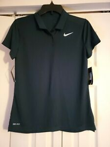 New Nike Women's Short Sleeve Golf Polo Dark Green Size Medium