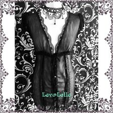 Black Sheer Blouse Top Victoriana Gothic 10