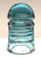 VINTAGE BROOKFIELD NEW YORK Aqua Blue Glass Insulator Bubbles/Internal Flaws