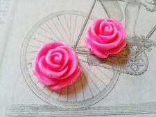 10 Pink Rose Flower Cabochons Resin Flatbacks 23mm Flat Back Glue On
