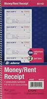Adams Money and Rent Receipt Book, 2-Part Carbonless, 5 1/4 x 11 Inch Detached,