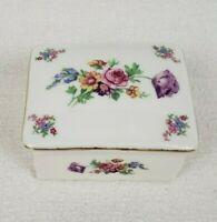 Vintage Floral Porcelain Trinket Box With Lid Gold Trim Victoria Czechoslovakia