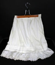 Famed Mathilde Lange Antique Victorian Cotton Petticoat Underskirt Lace Trim