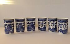 Vintage Blue Willow Pagoda 6 Cups No Handles Japan