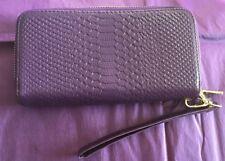 Purple Croc Skin Style Purse, Pocket Book, Wallet BNWT Zip Wrist Strap Clutch