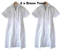 2 x Healthcare Ladies Uniform Nurse Carer White Grey Trim Tunic Dress Size UK 10