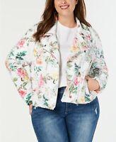INC International Concepts Women's Plus Size Floral-Print Sequin Moto Jacket 2X