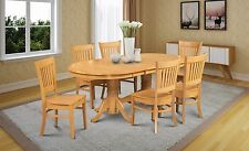 7 PIECE DINETTE DINING ROOM TABLE SET WITH WOODEN SEAT IN OAK FINISH