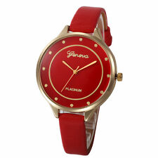 Ladies Fashion Geneva Platinum Quartz Gold Case Red Slim Band Wrist Watch.