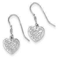 925 Sterling Silver Shepherd Hook Polished Filigree Heart Dangle Earrings