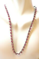 Vintage Pink Rhinestones prong set necklace choker necklace 5 mm glass stones