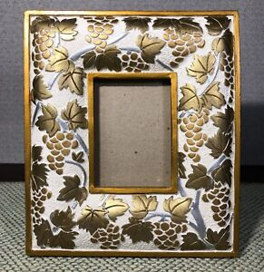 """Photo Frame w/ Carved Metallic Gold Silver Leaves & Grapes For 3.5""""x 3.5"""" Photos"""