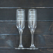 Personalized Champagne Toasting Flutes Set of 2 Champagne Glasses Wedding Gift
