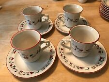 4 Farberware White Christmas Cup and Saucer Sets '95 Katherine Babozovsky 391
