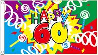 Happy 60th Birthday Streamer Banner 5'x3' Flag