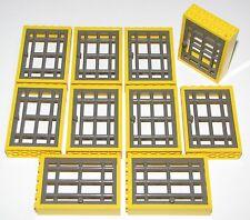 LEGO LOT OF 10 YELLOW 2 X 6 X 6 DOOR FRAMES WITH JAIL BARRED DOOR POLICE PARTS