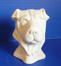 "Chinese Shar Pei Dog Bust Ceramic Bisque - U Paint/Glaze 4"" Tall"