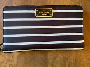 Kate Spade Large Wilson Road French Stripe Black White Large Clutch Organizer NW